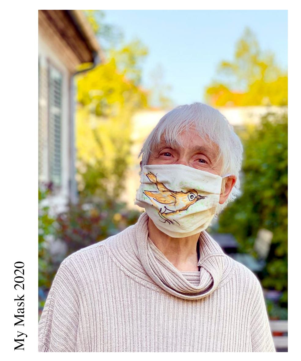 Artist - Gertrud Fuchs /Title- Nachtigal Usignolo/  Il viso si è fermato. E che peccato non è baciato!/  The face is terminated and what a pity -  not kissed!/  Materials: cloth, ink/ Date of publication 29.05.2020