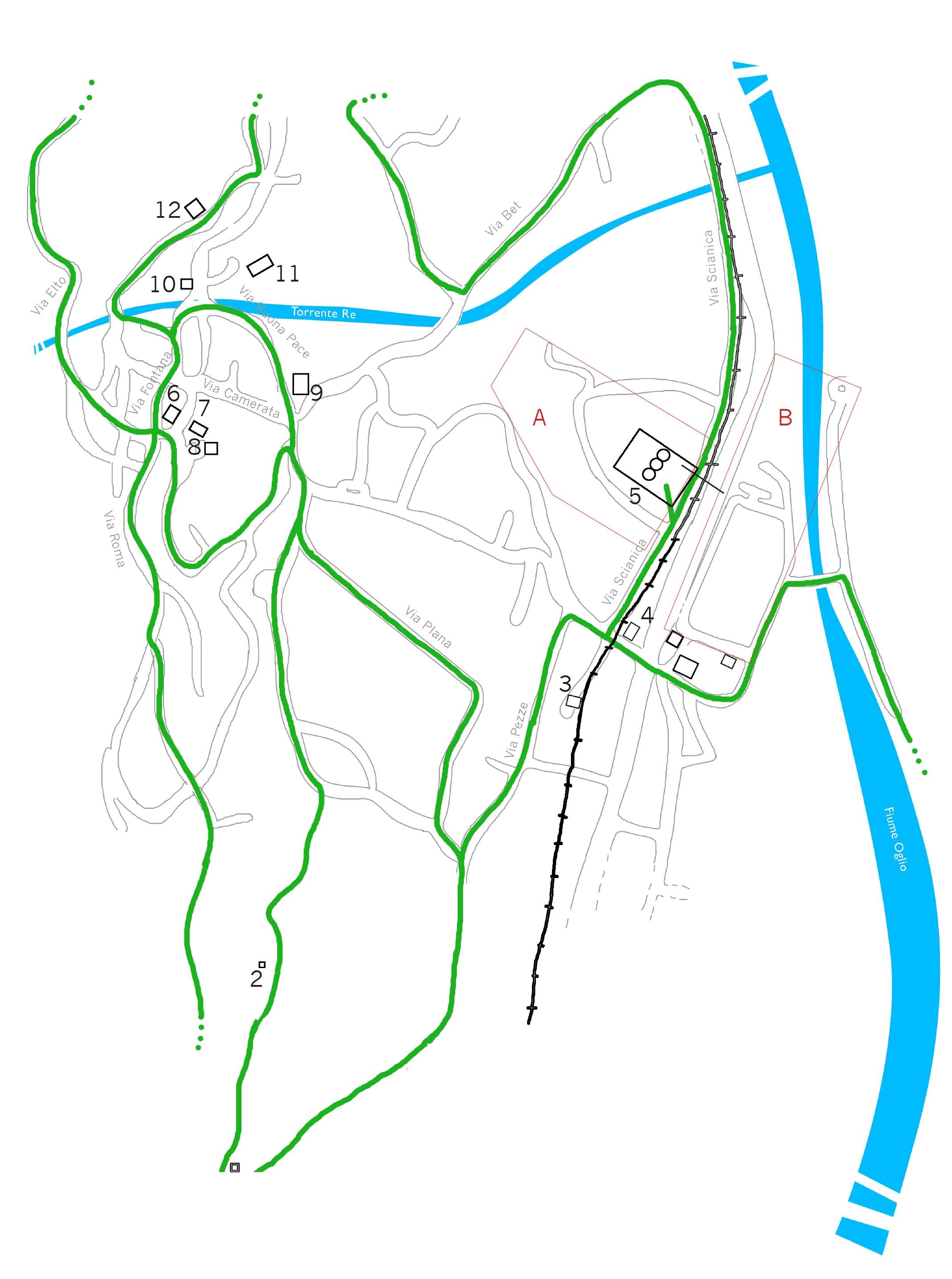 Forni da Calce di Sellero sede Post Industriale Ruralità Mappa area